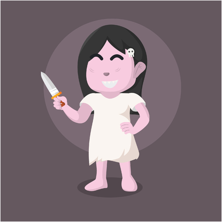 Ghost girl holding knife– stock illustration Banque d'images - 93392398