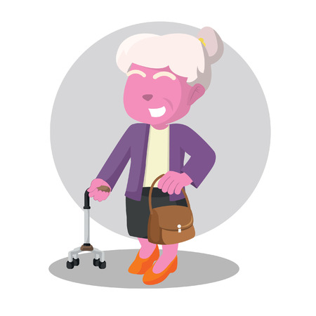 Pink old woman holding walking stick and bag– stock illustration