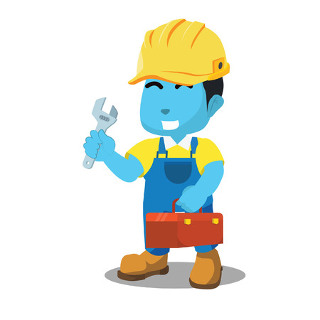 Blue handyman holding tool box– stock illustration