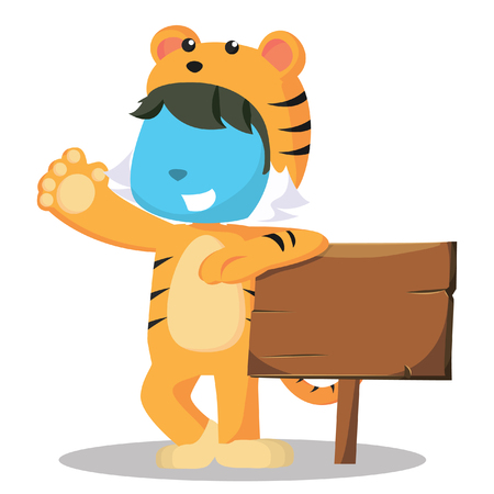 Blue man in tiger costume holding a sign– stock illustration Banque d'images - 93378452