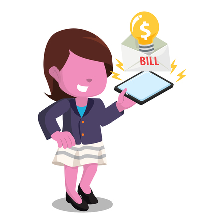 Pink businesswoman playing the electric bill stock illustration.