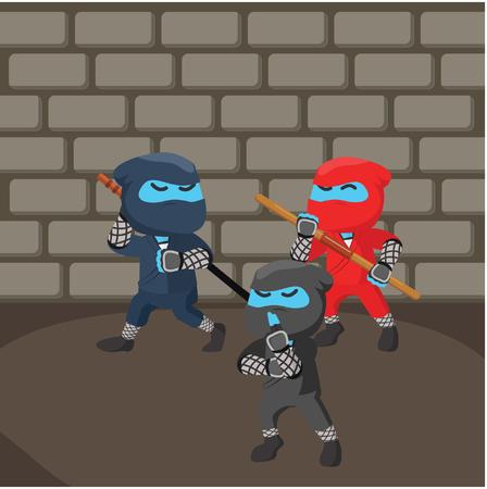 Group of ninja sneaking in dungeon vector illustration