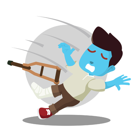 Blue man with broken leg falling down stock illustration.
