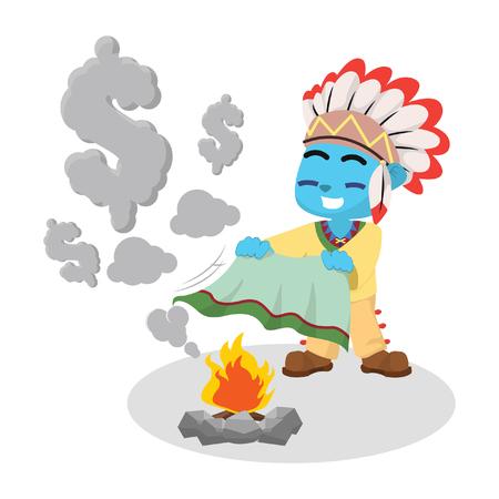 Blue indian boy making dollar sign smoke– stock illustration