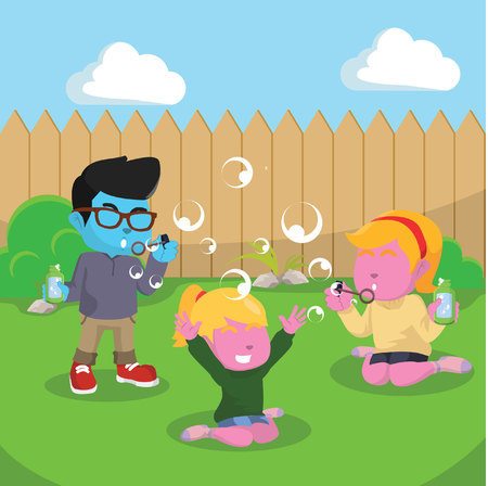 Kids playing soap bubbles at the backyard– stock illustration
