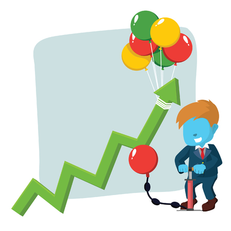 Blue businessman with rising graphic by pumping balloon vector illustration