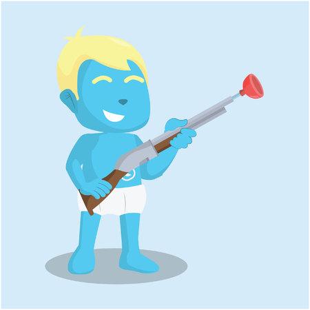 Blue baby boy holding shotgun toy– stock illustration