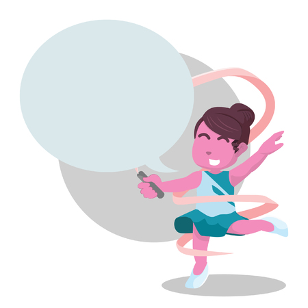 Pink ribbon dancer with callout colorful– stock illustration