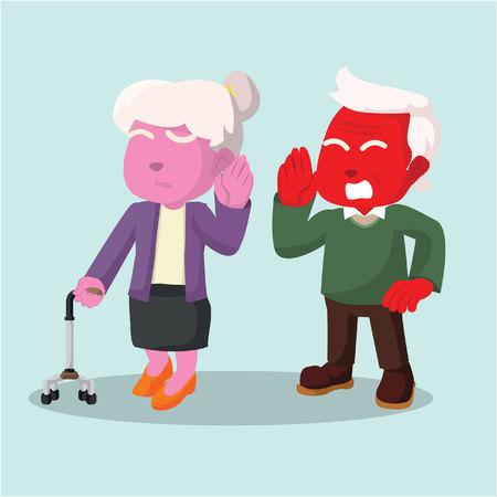 Old couple hard of hearing man talking– stock illustration Ilustrace