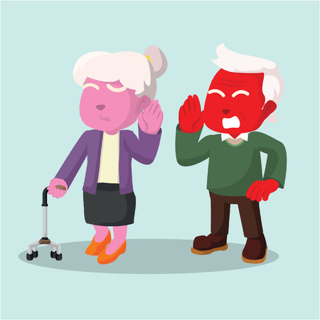 Old couple hard of hearing man talking– stock illustration