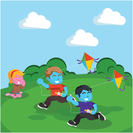 Kids playing kite at the hill– stock illustration