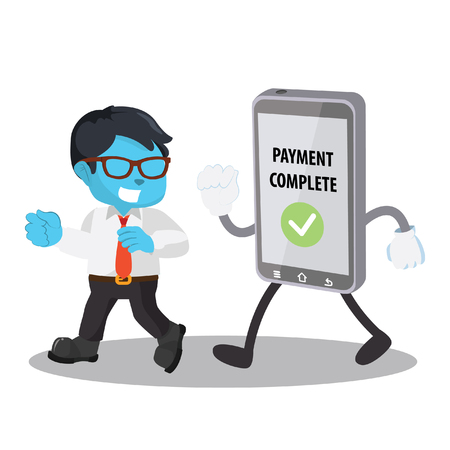 Blue businessman walking with mobile phone stock illustration.