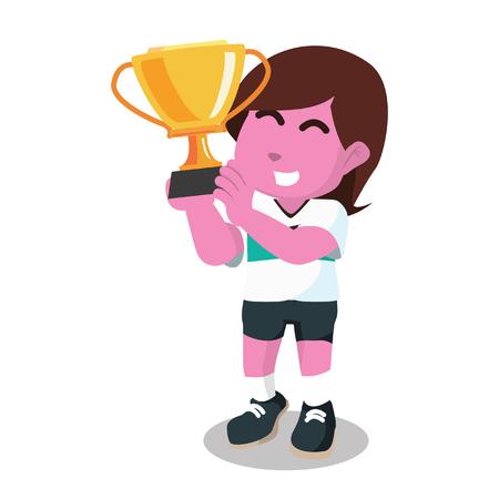 Roze vrouwelijke voetballer holding trofee stock illustratie Stock Illustratie