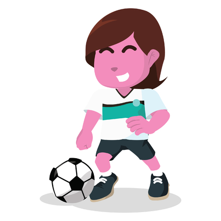 Pink female soccer player dribbling– stock illustration Illustration