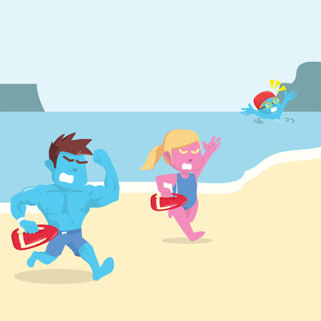 Life guard trying to rescue drowning people– stock illustration Illustration