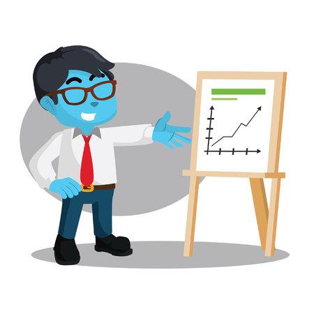 Blue businessman showing good report stock illustration.