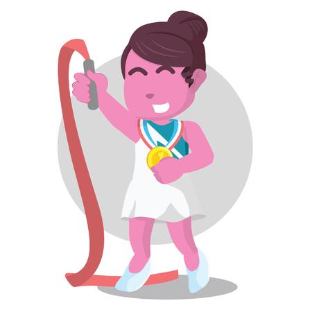 Pink ribbon dancer win a medal– stock illustration