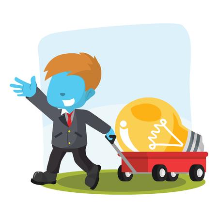 Blue businessman pulling cart with giant bulb– stock illustration Illustration