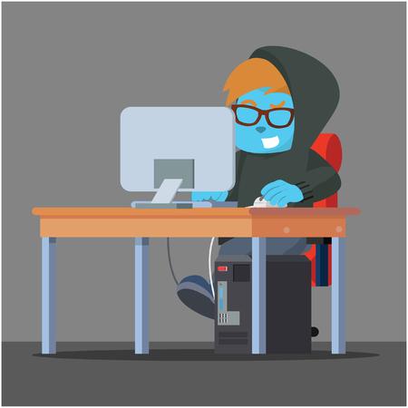 Blue hacker working on his desk– stock illustration Illustration