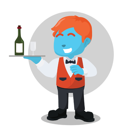 Blue waiter with wine bottle and wineglass– stock illustration Illustration