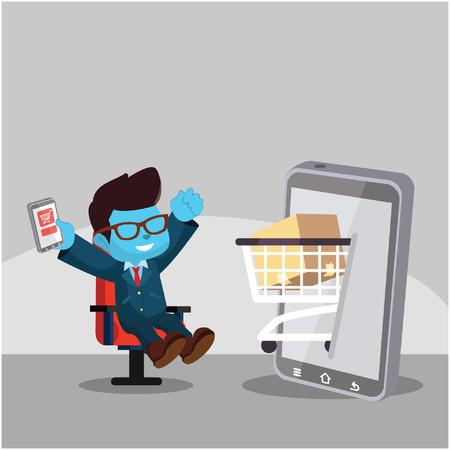 Blauwe zakenman bestellen van spullen uit smartwatchâ ? ? stockillustratie