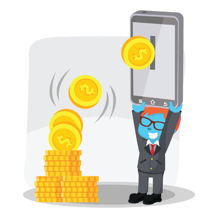 Blue businessman holding phone for e-banking– stock illustration