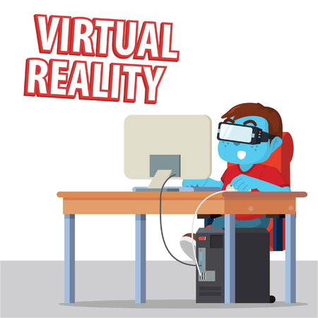 Blue man playing computer with virtual glasses– stock illustration
