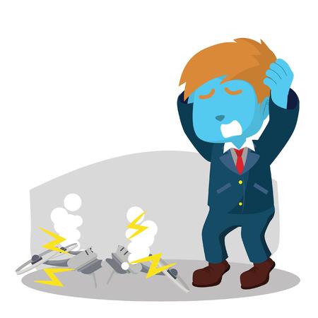 パニックの青いビジネスマン