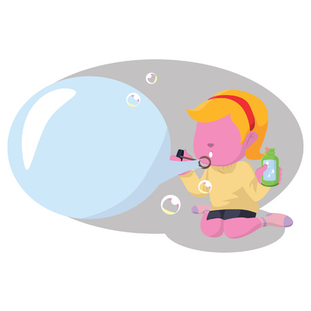 Pink woman blowing bubbles text– stock illustration