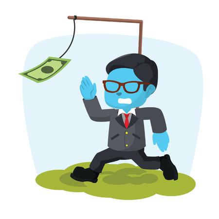 Blue businessman motivated by money– stock illustration