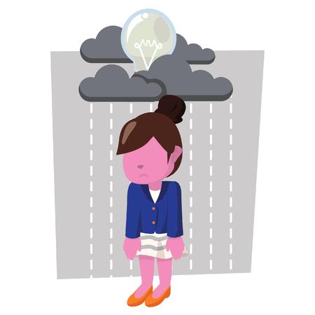 Pink businesswoman with raining bulb– stock illustration