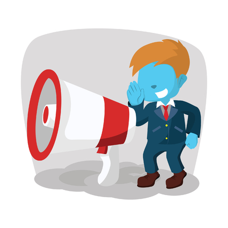 Blue businessman with giant megaphone– stock illustration Çizim
