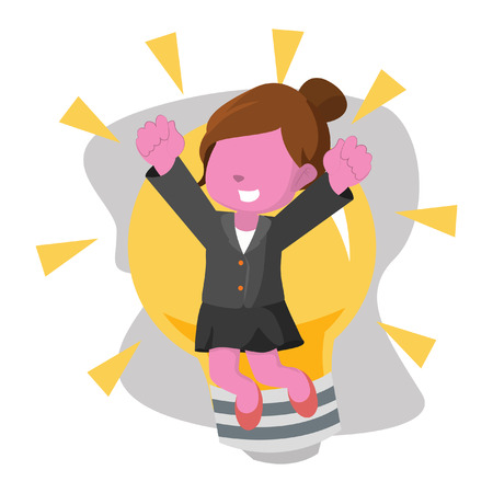 Pink businesswoman jump infront of bulb– stock illustration Illustration