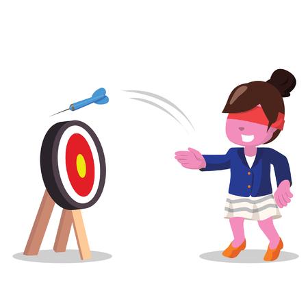 Afrikaanse zakenvrouw miste het doelwit met oog gesloten-stock illustratie Stock Illustratie