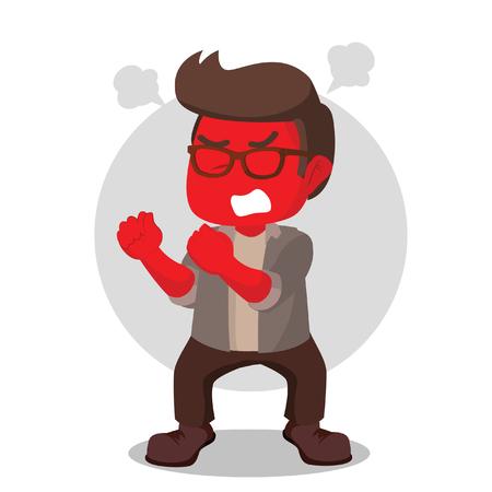 Angry red nerd illustration design– stock illustration