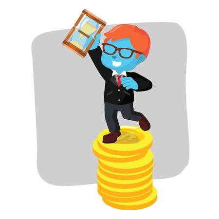 Blauwe zakenman op de illustratie van de de zandlopervoorraad van de muntstukholding. Stock Illustratie