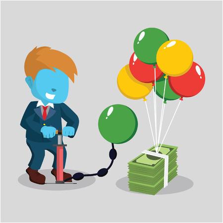 Blue businessman pumping air balloon to a bundle of money– stock illustration Ilustração