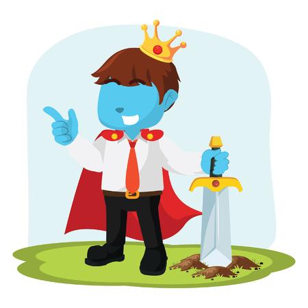 Blue businessman hold royal sword– stock illustration
