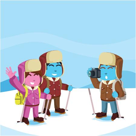 Arctic blue explorer taking photo stock illustration.