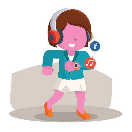 Roze zakenvrouw wandelende hoorzitting muziek van haar slimme horloge stock illustratie Stock Illustratie