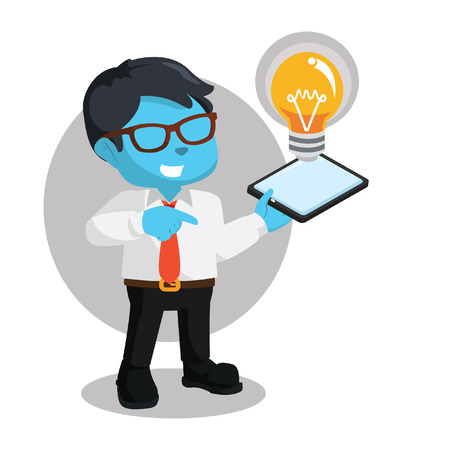 Blue businessman holding phone displaying light bulb in stock illustration.