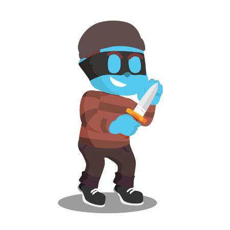Blue thief with knife– stock illustration Illustration