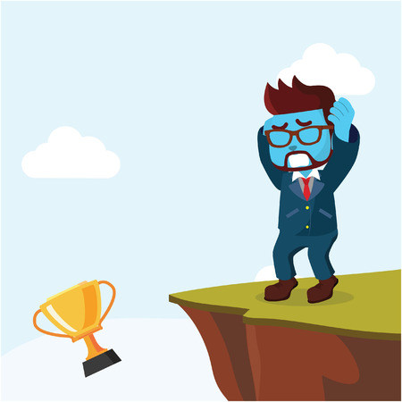 Blue businessman throw his trophy– stock illustration