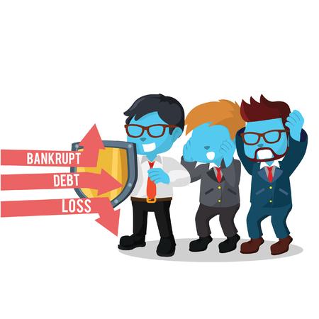 Blue businessman covering his employee– stock illustration Çizim