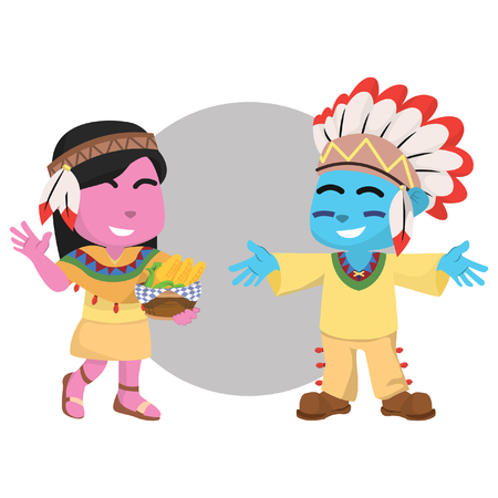 Pink girl indian and blue boy indian– stock illustration