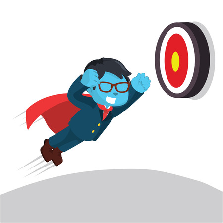 Blue businessman super trying to hit target– stock illustration