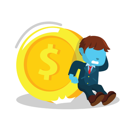 Blue businessman trying to hold giant coin– stock illustration
