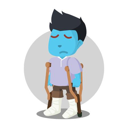 Man sad got both of his leg broken– stock illustration Illustration