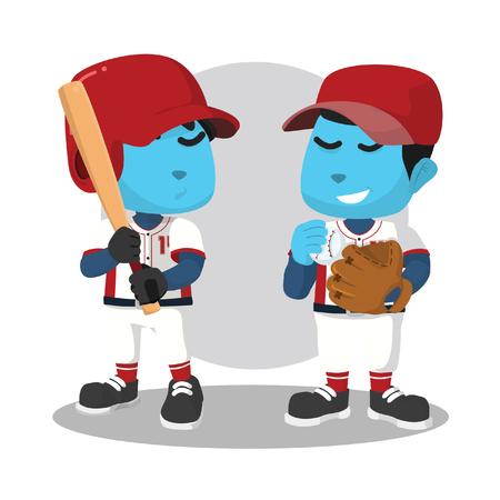 Blue baseball batter and pitcher– stock illustration Ilustração