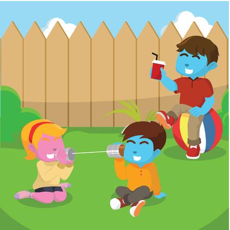 뒤뜰에서 놀고있는 아이들 - 일러스트레이션 일러스트